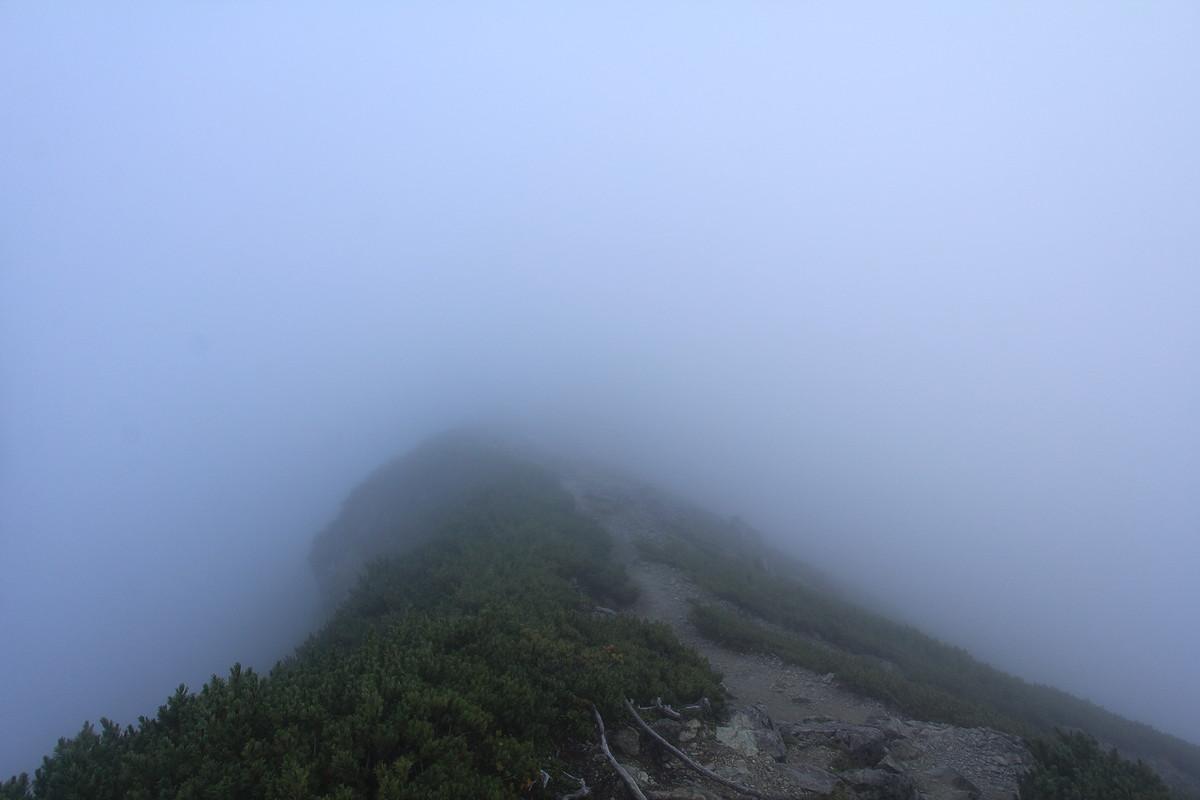 濃霧の塩見岳