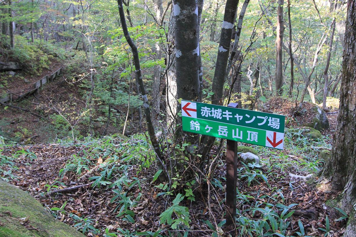 鈴ヶ岳山頂が下を指す看板